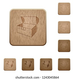 Empty open coffer on rounded square carved wooden button styles