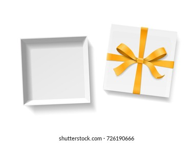 Empty open gift box with gold color bow knot and ribbon isolated on white background. Happy birthday, Christmas, New Year or Valentine Day package concept. Closeup Vector illustration 3d top view