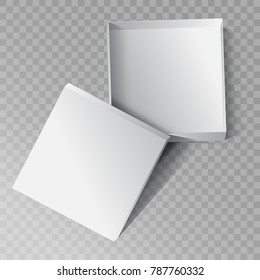 Empty open gift box for mockup design. 3D vector illustration isolated on transparent background. Top view.