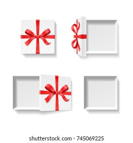 Empty open gift box with red color bow knot, ribbon isolated on white background. Happy birthday, Merry Christmas, New Year, Wedding or Valentine Day package concept. Vector illustration 3d top view