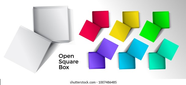 Empty open gift box set for mockup design. 3D vector illustration isolated on white background. Top view.