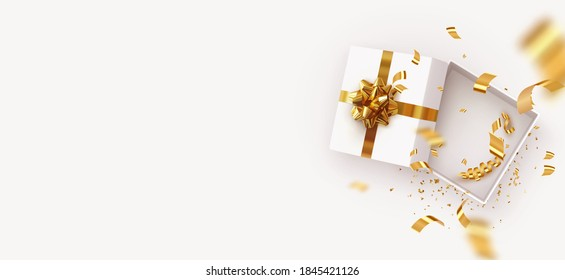 Empty Open gift box template. Xmas design Realistic decorative objects. Sale banner, surprise poster, flyer and brochure. mock up holiday. Celebrate birthday, anniversary, wedding. flat lay, top view