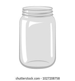 Empty open glass jar isolated on white background. Vector illustration.