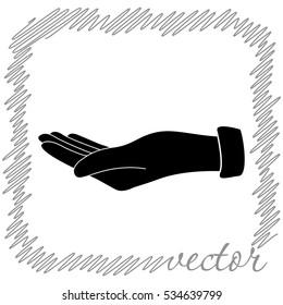 Empty open hand  black vector  icon