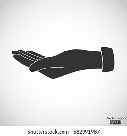 Empty open hand icon - vector  illustration