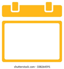 Empty Organizer Day vector icon. Style is flat symbol, yellow color, rounded angles, white background.