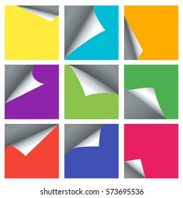 Empty page curled corners vector backgrounds for 3d banners. Set of colored paper sheet with bent corner illustration