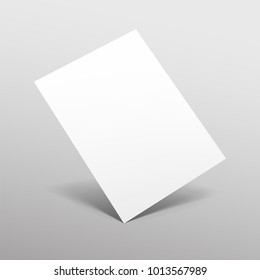 Empty paper sheet. A4 format paper with shadows on gray background. Vector Illustration EPS10.