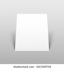 Empty paper sheet.A4 vertical format paper with shadows on gray background. Magazine, booklet, postcard, flyer, business card or brochure mockup. Vector Illustration EPS10.