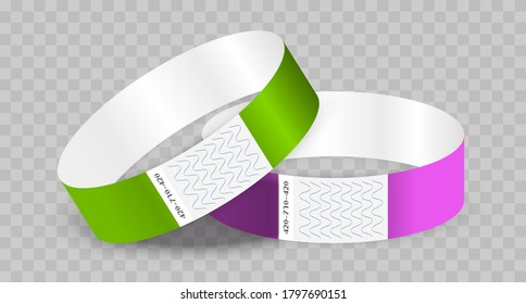 Empty paper or tyvek bracelet or wristband. Sticky hand entrance event paper bracelet isolated on a transparent background.