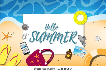 Empty paper for your text (copy space) with many beach stuffs - shoe, life ring, film camera, mobile phone, compass, starfish, sea shell- for tropical sea beach advertising promotion board