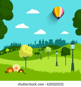 Empty Park Vector Flat Design Landscape. Natural Scene with Trees, Flowers and Hot Air Balloon.
