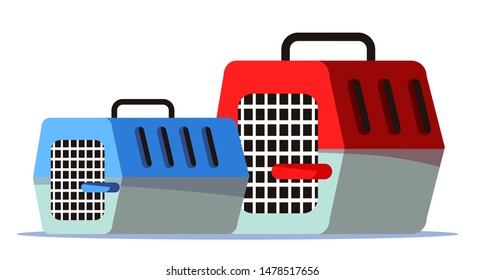 Empty pet carriers, cages flat vector illustration. Domestic animal portable transportation container. Closed red and blue plastic cases with metal doors. Veterinary clinic, petshop supply