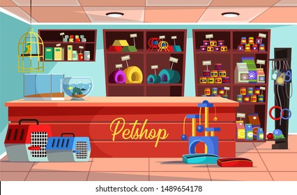 Empty pet shop flat vector illustration. Store interior with no people. Petshop banner cartoon concept. Parrot in cage, fish aquarium on counter. Domestic animal feed and toys sale business