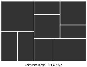 Empty photo frame collage of nine parts. Poster frame mockup. Vector template photo collage.
