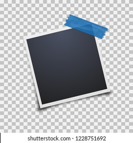 Empty photo frame on a transparent background. Blue scotch tape. Vector illustration.
