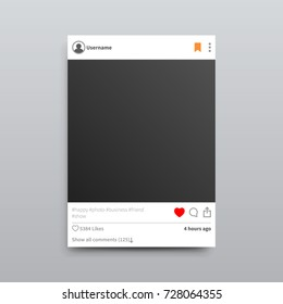Empty photo frame with red heart and bookmark button, several hashtags and lot of likes isolated vector Illustration on grey background.