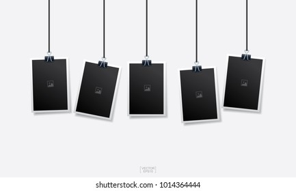 Empty photo frame set on white background. Vintage background. Vector illustration.