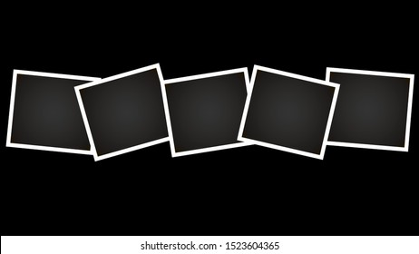 Empty photo frames on black wall (background)