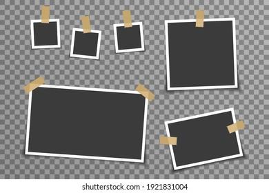 Illustration vectorielle de la carte d'album de la mémoire de cadre photo vide