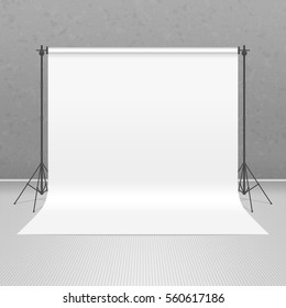 Empty photo studio concept. 3D template mock up in realistic style in gray background. Backdrop stand (tripods) with white paper. Art Studio interior. Vector illustration EPS10.