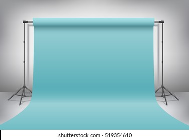 Empty photo studio. Realistic 3D template mock up. Backdrop stand (tripods) with pastel turquoise, blue paper backdrop. Gray background. Vector illustration.