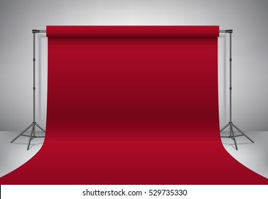Empty photo studio. Realistic 3D template mock up. Backdrop stand (tripods) with vinous paper backdrop. Red background and grey wall. Vector illustration.