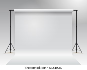 Empty photo studio. Realistic 3D template mock up. Backdrop stand tripods. With white paper backdrop. Vector illustration. Isolated on gray background.