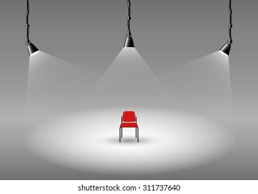 Empty photo studio with spotlights and chair. Vector illustration. Grey backdrop.