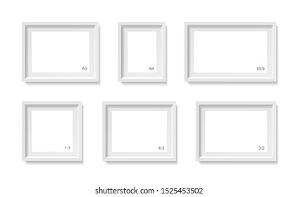 Empty picture frames mockup. Different sizes, formats set (a4, a3, 1:1, 3:2, 4:3 and 16:9) Photo container template. 3d illustration isolated on white wall. Blank space for paper poster. Vector object