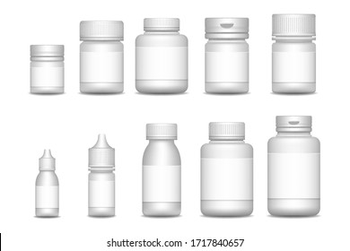 Empty pill containers. Medical Sprays. 3d blank template medical packaging for pill and liquid medication