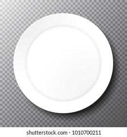 Empty plain white plate on a transparent background. Clean porcelain dish for a place setting. 3d vector illustration.