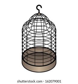 An empty plain wire birdcage. - Shutterstock ID 162079001