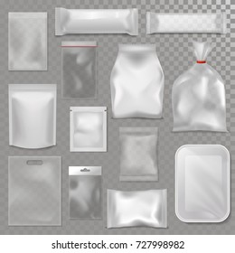 Empty plastic bag package mockup transparent pack 3d realistic pack advertising template package vector illustration