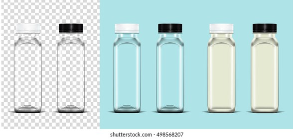 Empty plastic bottle on transparent background and milk bottle on light blue background ready for your design . Packaging vector