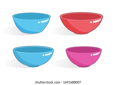 Empty plastic bowls of different forms with shadows isolated on white background. Set of vector dish icons.