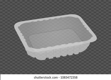 Empty plastic food container. Packaging for meat, fish, vegetables and fruit. Vector illustration.