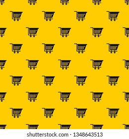 Empty plastic market trolley pattern seamless vector repeat geometric yellow for any design