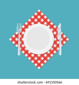 Empty plate, fork and knife on red checked tablecloth or napkin. Restaurant or cafe logo template. Waiting for meal icon. Vector illustration