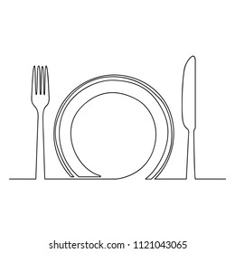 Empty plate, fork and knife, one line drawing isolated on white background-Vector One Line Drawing Vector Illustration.