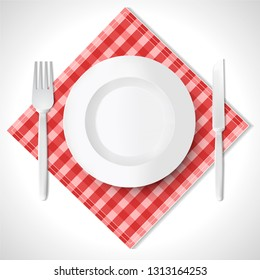 Empty plate, fork and spoon on red checkered tablecloth. Realistic design. Vector illustration esp10.