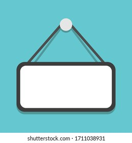 Empty plate hanging on turquoise blue background, copy space. Notice, message, information and advertisement sign template. Flat design. EPS 8 vector illustration, no transparency, no gradients
