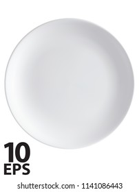 Empty plate isolated on a white. Top view. Vector 3d illustration