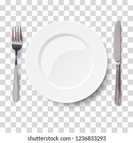 Empty plate with knife and fork isolated on a transparent chequered background. View from above. Vector illustration.