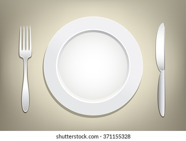 Empty plate, knife and fork on a light brown mesh background. Tableware set. Dishes for a meal. Empty template to put your food on the plate.