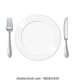 Empty plate with knife and fork on a white background. Vector illustration
