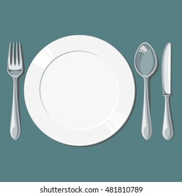 Empty plate with spoon, knife and fork. Vector illustration