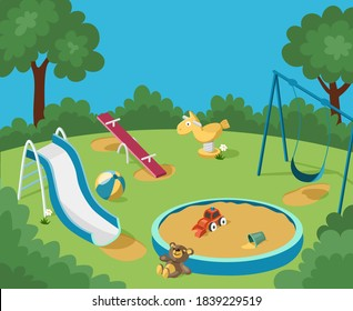 Empty playground with no children. Swing, slide, seesaw, spring rocker, sandbox and abandoned toys on the green grass. Cartoon vector illustration