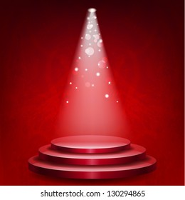 Empty podium illuminated lights on red grunge background