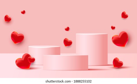 Empty podiums, pedestals or platforms with flying red love balloons on a pink background. Minimal scene with geometrical forms for product presentation. Vector illustration